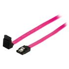 Datový kabel SATA, 3Gb/s, 7-pinová zásuvka SATA se zámkem - 7-pinová zásuvka SATA se zámkem, úhlová 270°, 1,00 m, červený