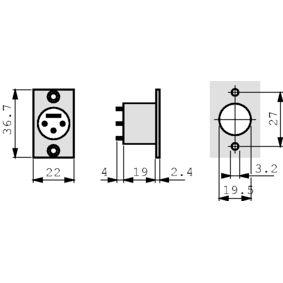 XLR Kolíková zásuvka pro montáž na panel 3 P Pájecí Pøipojení Èerná
