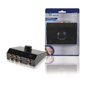 Analogov� Audio P�ep�na� 3x (2x RCA Z�suvka) - 2x RCA Z�suvka �ern�