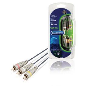 Komponentní Video Kabel 3x CINCH Zástrèka - 3x CINCH Zástrèka 10.0 m Modrá - zvìtšit obrázek