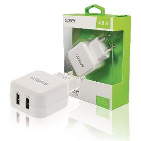 Nabíjeèka 2-Výstupy 4.8 A 2x USB Bílá - zvìtšit obrázek