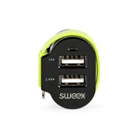 Nabíjeèka Do Auta 3-Výstupy 6 A 2x USB / Apple Lightning Èerná/Zelená