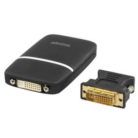 P�evodn�k USB A Z�str�ka - DVI-D 24 1p Z�suvka / D-SUB 15kol�kov� Z�suvka �ern�