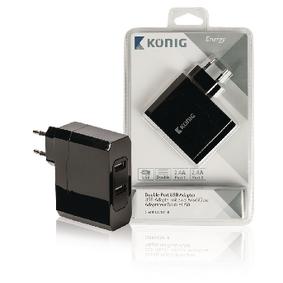 Nabíjeèka 2 - Výstupy 4.8 A USB Èerná