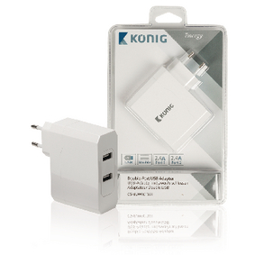 Nabíjeèka 2 - Výstupy 4.8 A USB Bílá