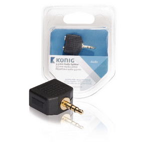 Stereo Audio Adapt�r 3.5mm Z�str�ka - 2x 3.5mm Z�suvka Antracit
