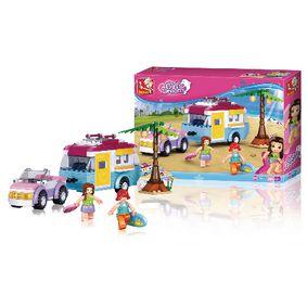 Stavebnicové Kostky Girl s Dream Auto s Karavanem