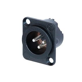 XLR Panel Mount | 3 Pole Male | Silver Contacts | Metal Housing | Black