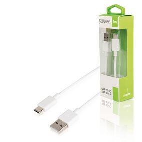 Kabel USB 2.0 USB-C Z�str�ka - USB A Z�str�ka 1 m B�l�