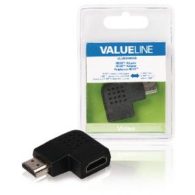 Adaptérem High Speed HDMI s Ethernetem Úhlový Levý HDMI Konektor - HDMI Zásuvka Èerná