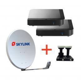 SET pro montáž SKYLINK - 2 x Kaon MZ-102, parabola 80, LNB monoblok TWIN