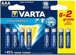 Varta baterie alkalick� mikrotu�kov� LR03/ blistr 6+2 ks zdarma
