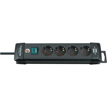 Extension socket Premium-Line 4-way black H05VV-F 3G1,5