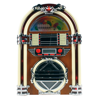 Retro jukebox s rádiem AM / FM a CD přehrávačem