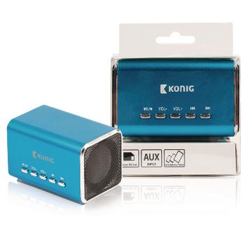 Přenosný reproduktor s podporou MP3, modrý
