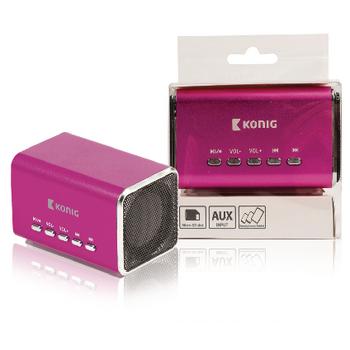 Přenosný reproduktor s podporou MP3, růžový