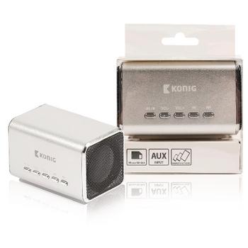 Přenosný reproduktor s podporou MP3, stříbrný