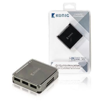 USB 2.0 rozbočovač a čtečka paměťových karet, 3 porty