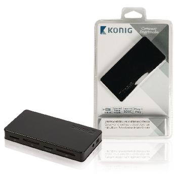USB 2.0 rozbočovač a čtečka paměťových karet, 3 porty, externí napájení