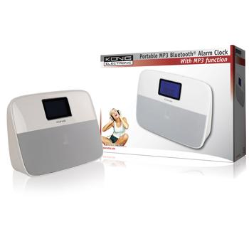 Přenosný Bluetooth reproduktor s budíkem, bílý