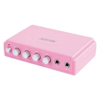 Karaoke mixer, 2x mikrofon - könig růžový