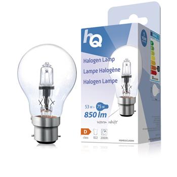 Halogenová žárovka, klasická, B22, 53 W, 850 lm, 2 800 K
