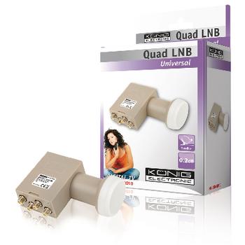 Univerzální konvertor LNB se čtyřmi výstupy (quad ), 0,2 dB