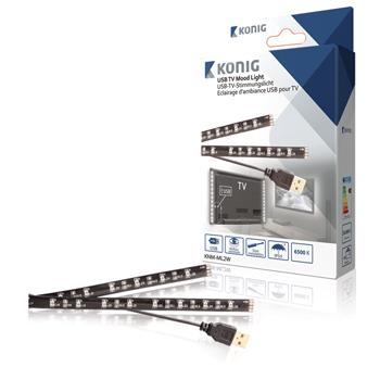 USB TV náladové osvětlení, 2 LED pásky, 50 cm, studená bílá
