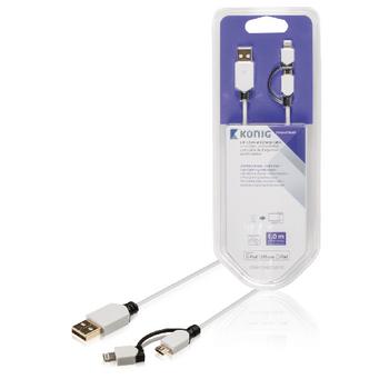 Synchronizační a nabíjecí kabel, USB Micro B zástrčka – A zástrčka 8-pin Lightning adaptér se zástrčkou, 1 m, bílý