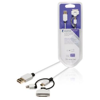 Synchronizační a nabíjecí kabel, USB Micro B zástrčka – A zástrčka 8-pin Lightning a 30-pin dokovací adaptér se zástrčkou, 1 m