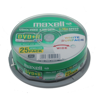 DVD R 4.7 GB printable 8x 25 pieces spindle
