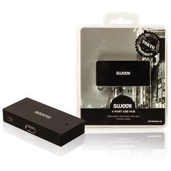 USB rozbočovač Tokyo, 4 porty, černý