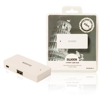USB rozbočovač Pisa, 4 porty, bílý