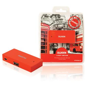 USB rozbočovač London, 4 porty, červený