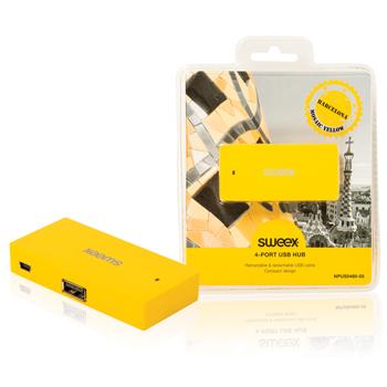 USB rozbočovač Barcelona, 4 porty, žlutý