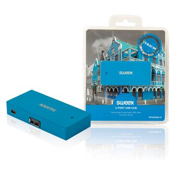 USB rozbočovač Curaçao, 4 porty, modrý