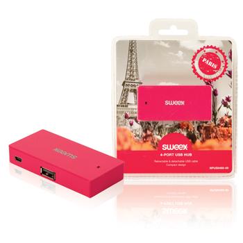 USB rozbočovač Paris, 4 porty, fuchsiový