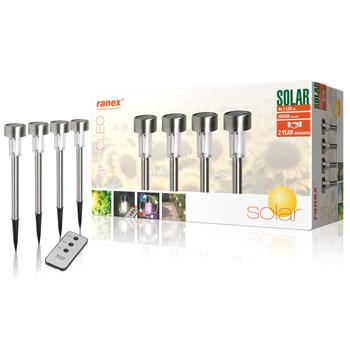 Zahradní solární LED světla s kolíky do země a dálkovým ovládáním, ochrana IP45