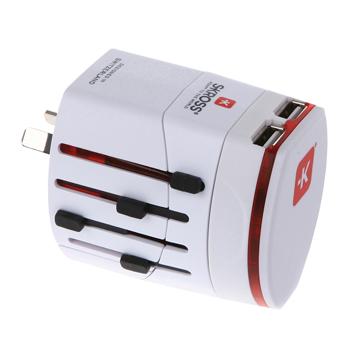 Adaptér World Adapter dvoupólový s duální USB nabíječkou, bílý