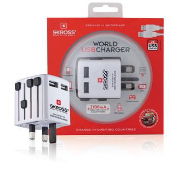 Cestovní USB nabíječka, blistr, bílá