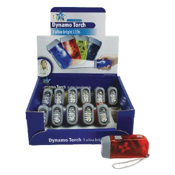 Svítilna 3led mini dynamo - 12ks