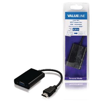 Redukční kabel HDMI, konektor HDMI - zásuvka VGA 3,5 mm, černý, 0,20 m