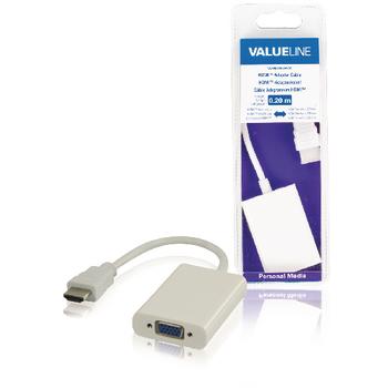 Redukční kabel HDMI, konektor HDMI - zásuvka VGA 3,5 mm, bílý, 0,20 m