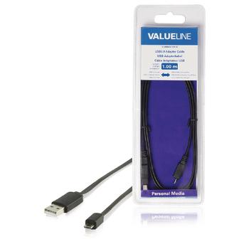Redukční kabel USB, zástrčka USB 2.0 A - zástrčka USB 2.0 micro B, plochý, černý, 1,00 m