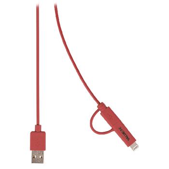 Synchronizační a nabíjecí kabel, zástrčka USB 2.0 A – zástrčka Micro B s přiloženým adaptérem Lightning, 1,00 m, červený