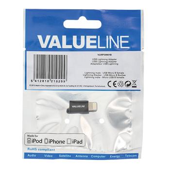 USB adaptér Lightning, zástrčka Lightning - zásuvka USB micro B, černý