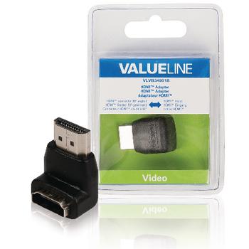 Adaptér HDMI s konektory 90° úhlový HDMI – HDMI vstup, černý