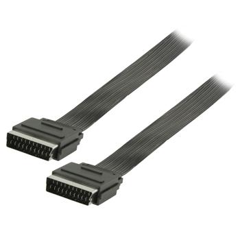 Plochý kabel SCART, zástrčka SCART – zástrčka SCART, 3,00 m, černý