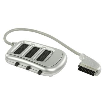 SCART rozbočovač s přepínačem, zástrčka SCART – 3× zásuvka SCART, 0,50 m, stříbrný