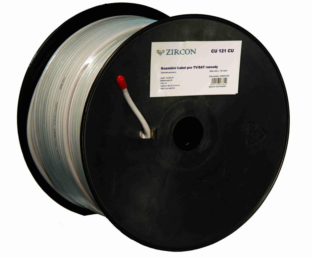 Koaxiální kabel Zircon CU 121 CU - návin 150 m